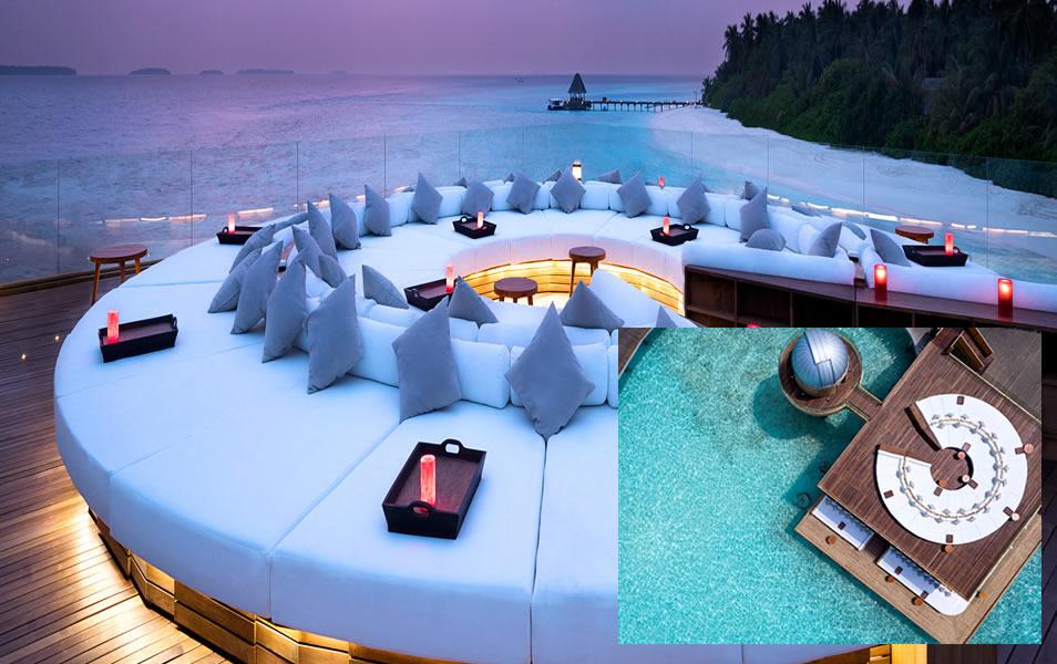 Rooftop SKY Bar at Anantara Kihavah Maldives Villas
