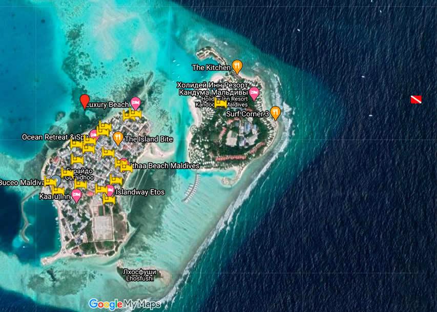 карта с отелями на  мальдивах