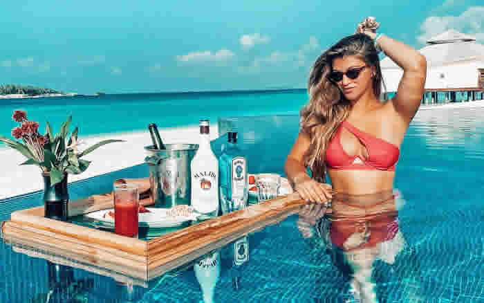Amy Willerton at water villa