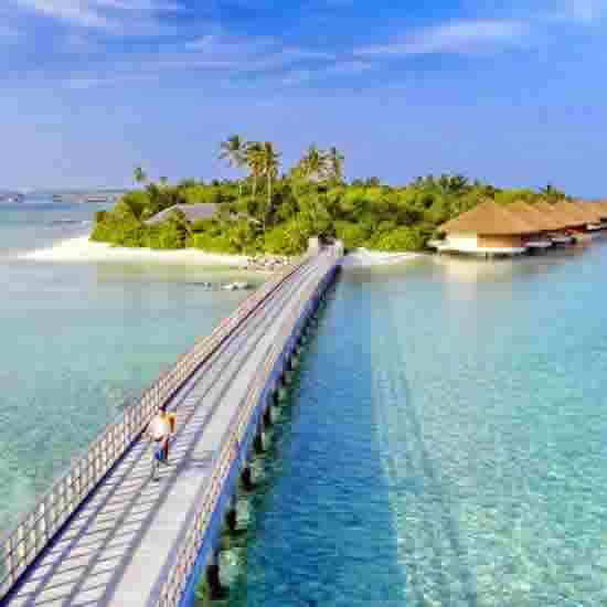 Most resorts in the Maldives sit on the same private island with a blue lagoon, but there are those that span two or more islands.
