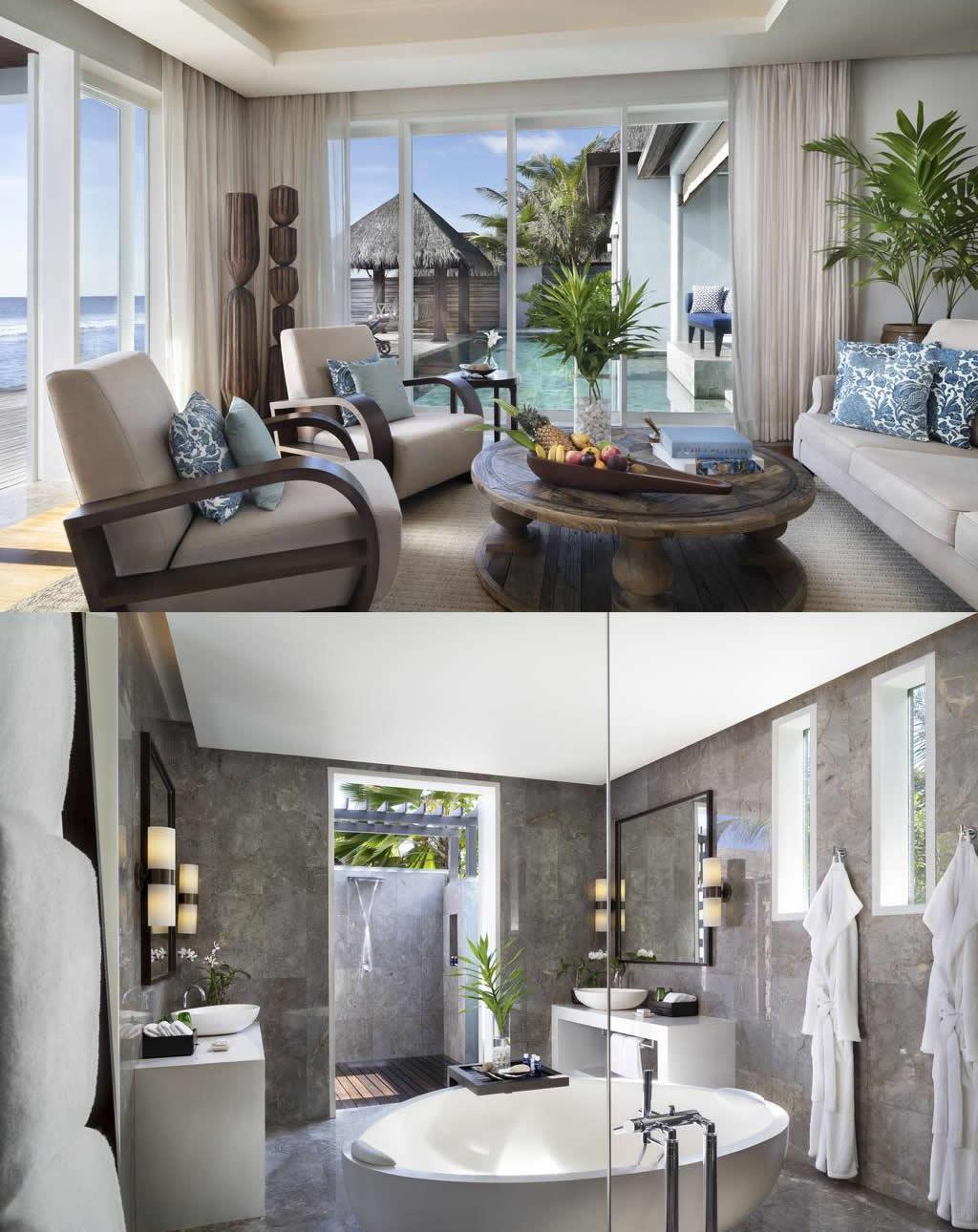 двух спальный пляжный дом на мальдивах