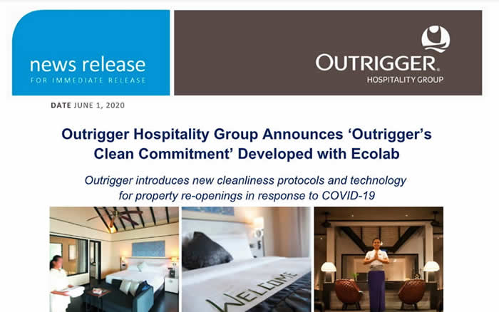 Outrigger Hospitality Group Announces 'Outrigger's Clean Commitment' Developed with Ecolab