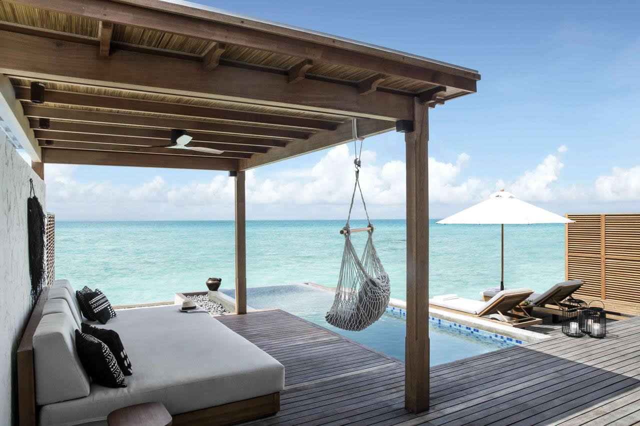 Fairmont Maldives, Sirru Fen Fushi. overwater villa with pool