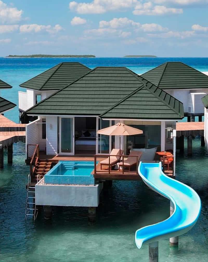 lagoon pool villa with slide